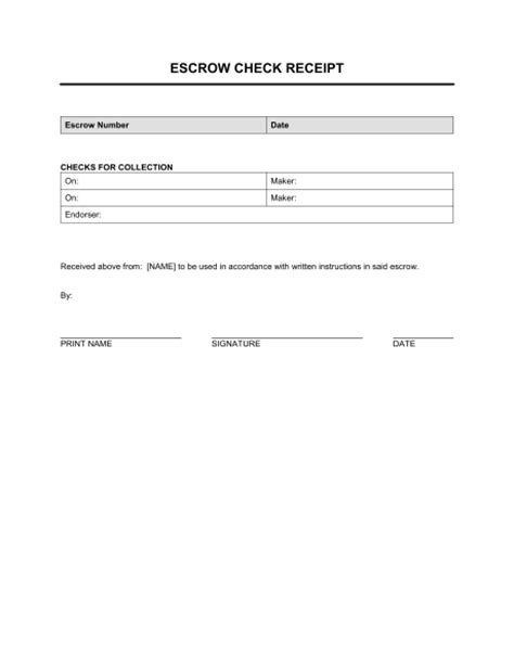 escrow check receipt template sle form biztree com