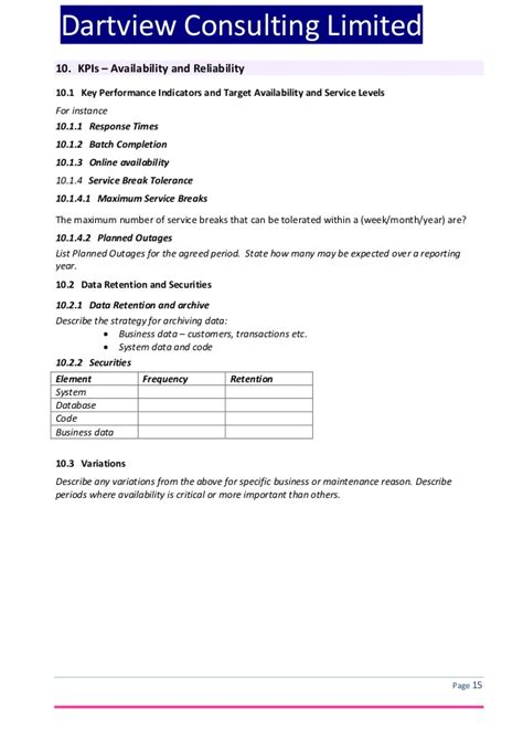 help desk service level agreement template itil service level agreement template