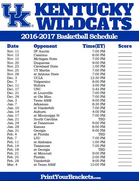 uk basketball schedule ky 75 best college basketball schedules images on pinterest