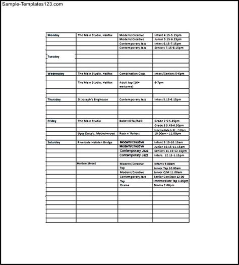 school class list template free sle templates