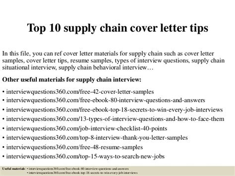Supply Specialist Cover Letter by Top 10 Supply Chain Cover Letter Tips
