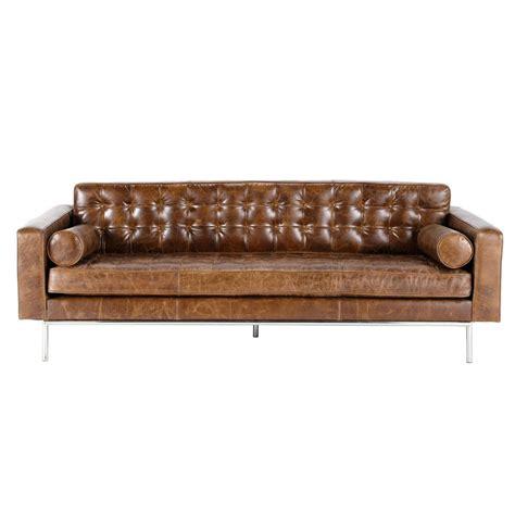 divani cuoio divano imbottito marrone in cuoio 3 posti mikado maisons