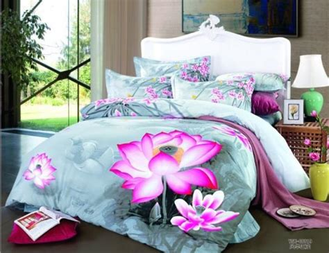 Flower Bed Set Light Blue Floral Lotus Flower Bedding Set For King Queen
