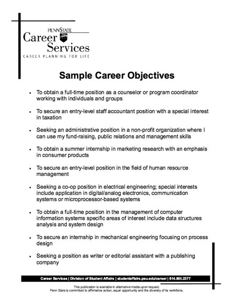 Resume Employment Objectives Sle Career Objectives Resume Http Resumesdesign Sle Career Objectives Resume