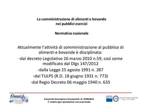 normativa somministrazione alimenti e bevande attivit 192 di somministrazione di alimenti e bevande