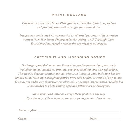 Photographer Print Release Form Flyer Templates On Creative Market Print Release Form Template