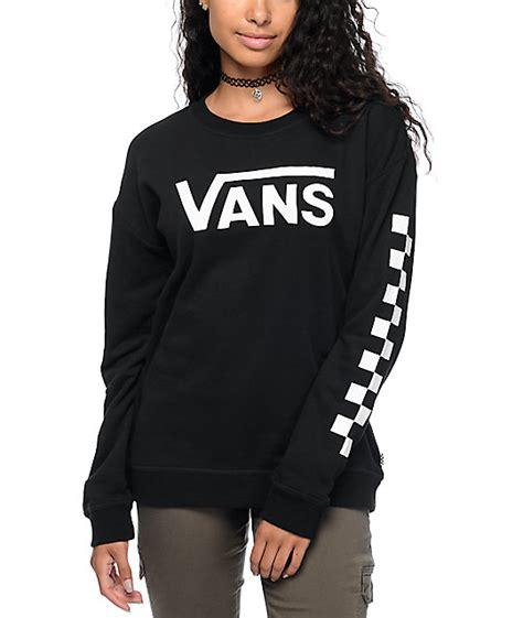 Sweater Vans vans big checkerboard black white crew neck sweatshirt