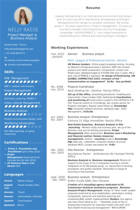 Analyst Resume samples   VisualCV resume samples database