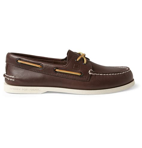 topsiders shoes sperry top sider leather boat shoes in brown for lyst