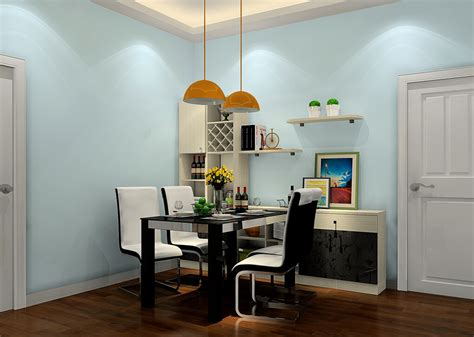 milan dining room design with light blue walls