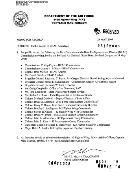 Memo Template Cc memorandum from the affairs office 142nd fighter wing cc portland ang oregon page