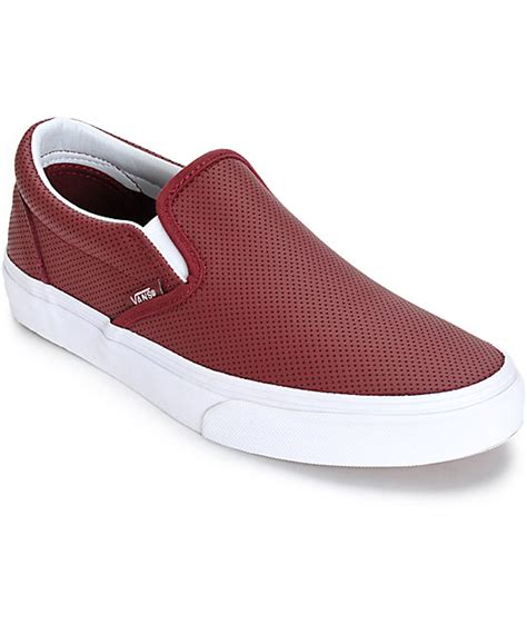 womens slip on shoes vans classic port perforated leather slip on shoes womens
