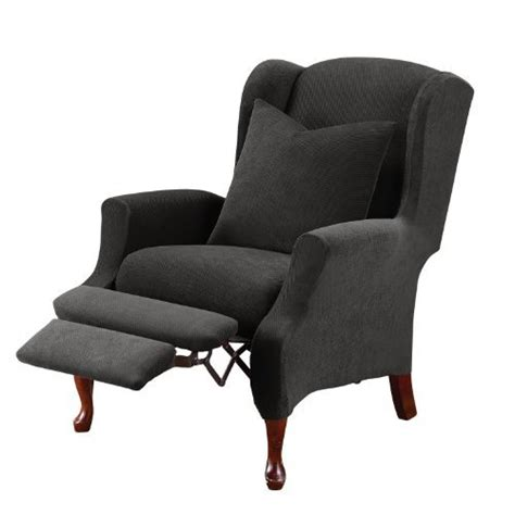 sure fit wing chair recliner slipcover sure fit stretch pique wing recliner slipcover from