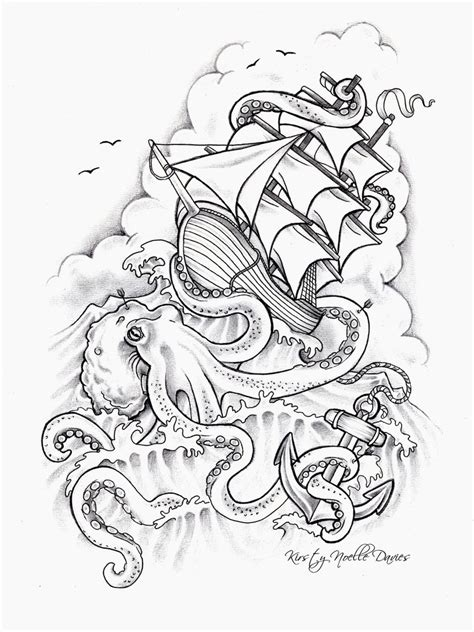 tattoo outline creator octopus sinking ship tattoo design by kirstynoelledavies