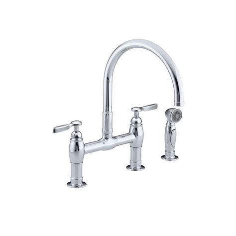 kitchen bridge faucet kohler parq 2 handle bridge kitchen faucet with side sprayer in polished chrome k 6131 4 cp
