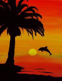Tropical Duvet Cover King Dolphin Sunset Painting By Barbara St Jean