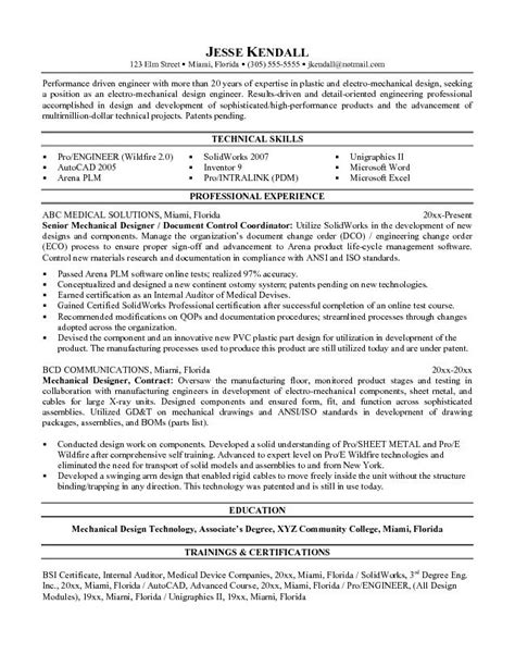 Resume Sles Mechanical Designer Free Mechanical Designer Resume Exle