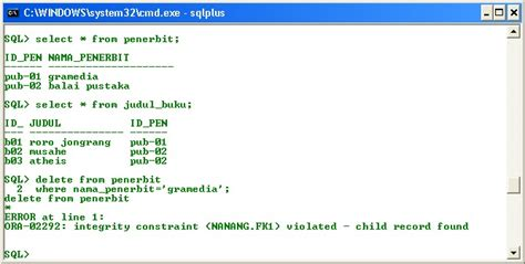 Keyboard Di Gramedia pemprograman basis data menghapus data yang berhubungan