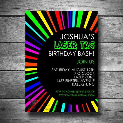 free printable birthday invitations laser tag laser tag birthday invitation rainbow invite printable