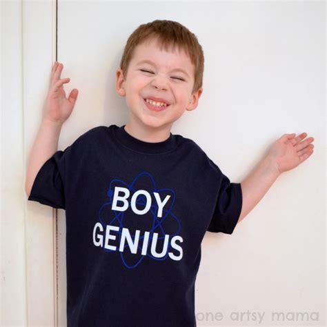 Tshirt Genius 3 boy genius flocked vinyl t shirt one artsy