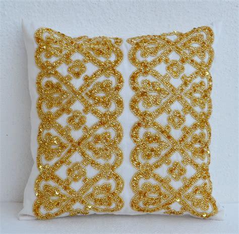 bead pillow white geometric throw pillows beaded detail gold bead