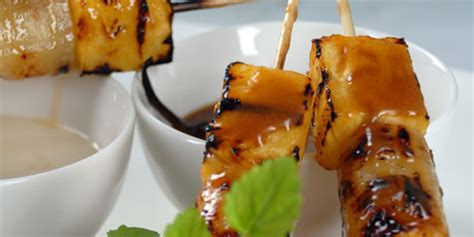 grilled bananas and pineapple with pineapple banana grilled fruitsticks with a vanilla butter glaze recipes food network canada