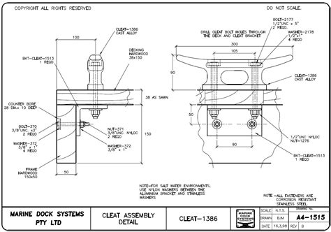 boat cleat drawing cleats marine dock systems mds marinas pontoons
