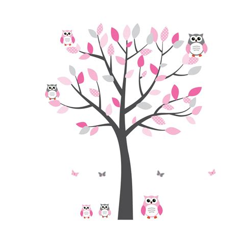 pink tree wall sticker pink and grey owl decal with tree decals for nursery for