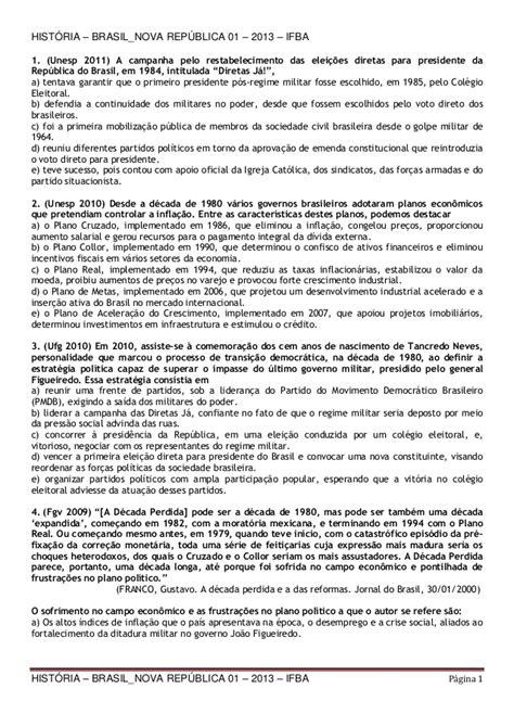 História – brasil nova república 01 – 2013 – ifba