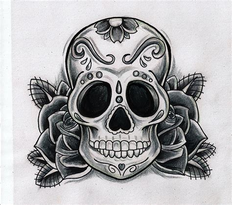 black and white skull tattoo designs gallery sugar skull designs