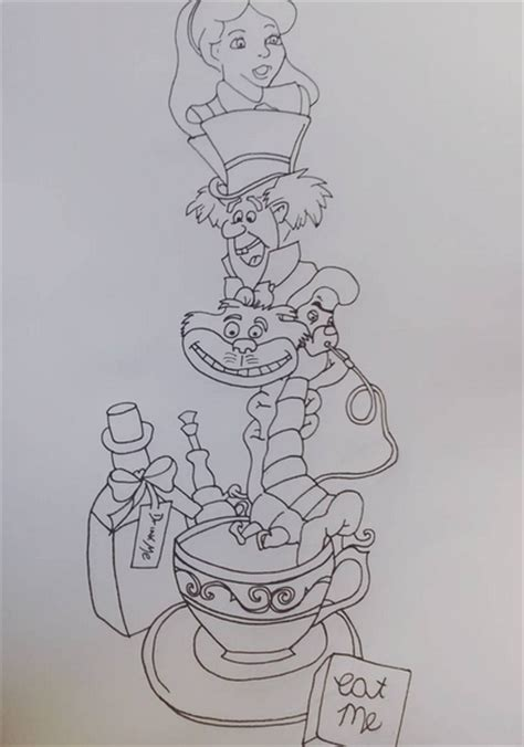 alice in wonderland tattoo sleeve design by