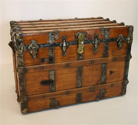 large trunk large antique flat top trunk at 1stdibs