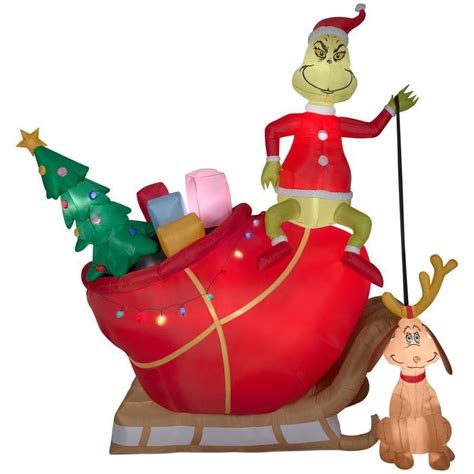 grinch inflatable airblown grinch max sleigh new for sale holidays net