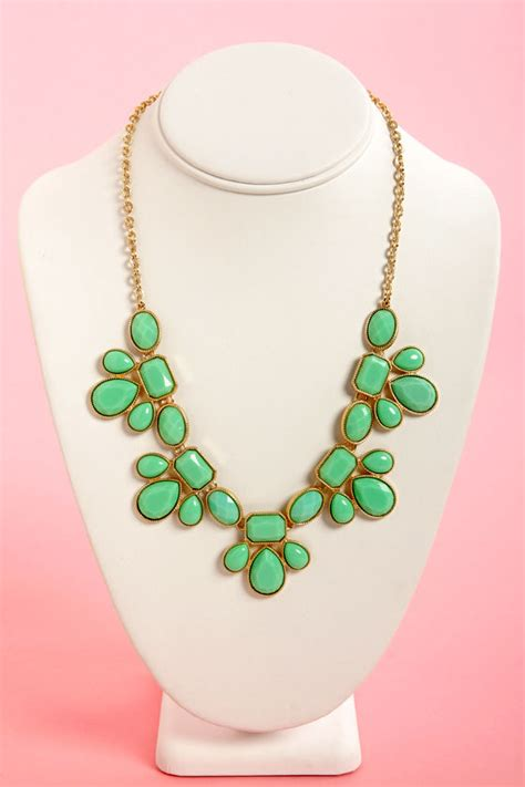 gorgeous mint green necklace statement necklace 16 00