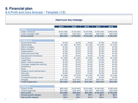 profit forecast template investor pitch template by ex deloitte mckinsey