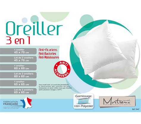 oreillers anti acariens oreiller anti acariens 3 en 1 60x60 mortreux