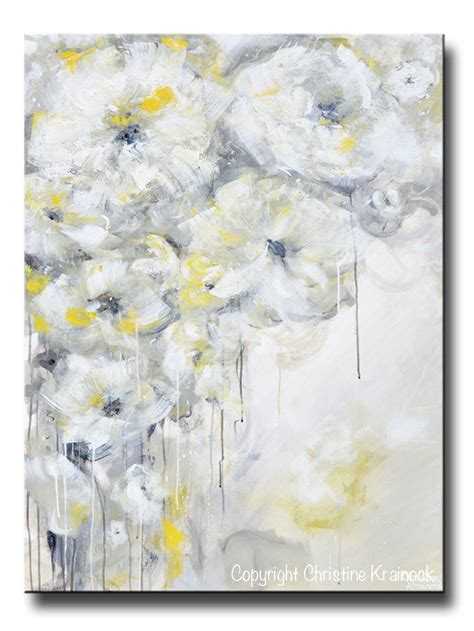 Painting White yellow grey abstract painting white flowers