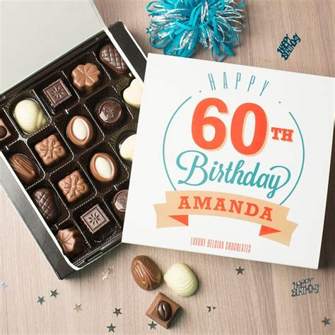 personalised belgian chocolates happy 60th birthday