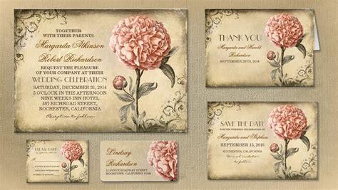 Vintage Wedding Cards Templates by Vintage Wedding Invitations Rectangle Landscape Brown Pink