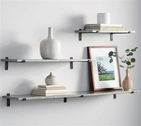 pottery barn wall shelves menlo galvanized shelves pottery barn