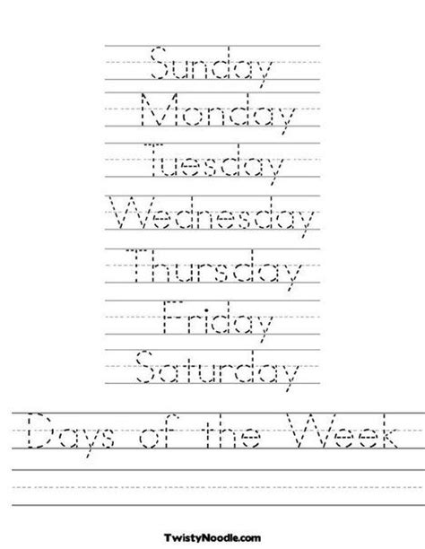 lots of letter tracing sheets days of the week worksheet