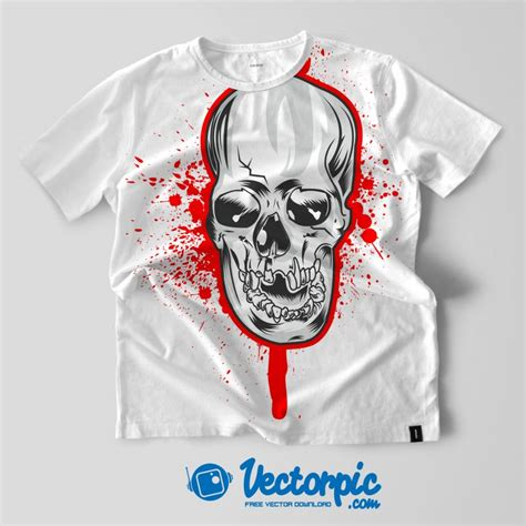 Tshirt Kaos Android Forever skull design and mock up t shirt design free vector