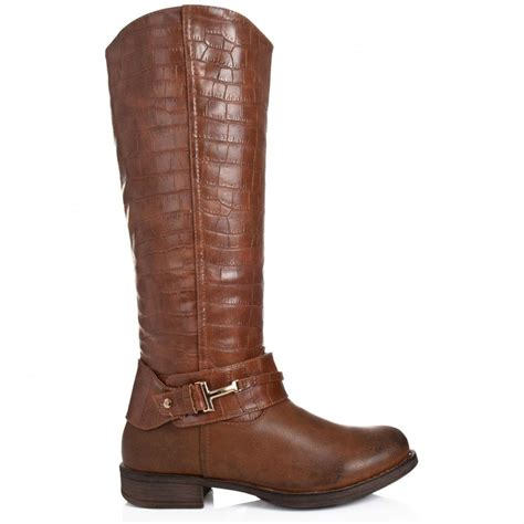 brown leather boots for buy graphyk flat knee high boots brown leather style