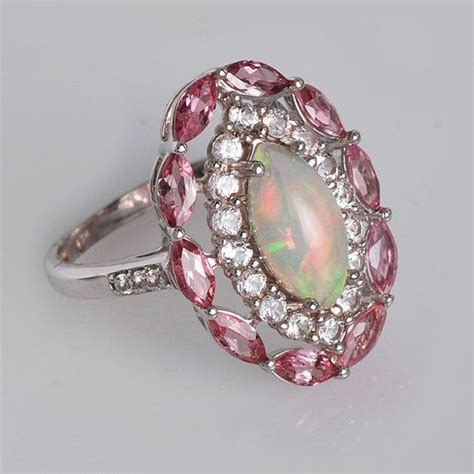 tourmaline opal ethiopian opal ring pink tourmaline ring white by
