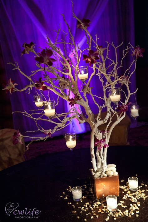 Encore Centerpieces Silver Tree With Hanging Votives Silver Tree Centerpiece