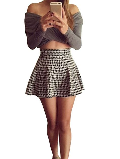 Gray Leaves Set S M L Top Skirt 30352 nextshe fashion two set plaid mini skirt with shoulder sleeve grey crop top