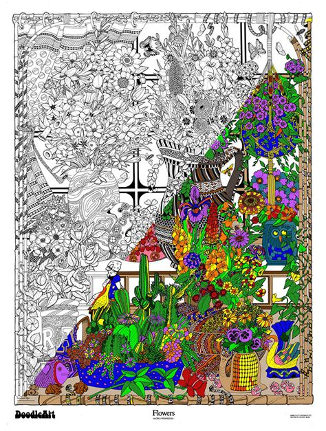 doodle jungle poster the original doodleart flowers coloring poster