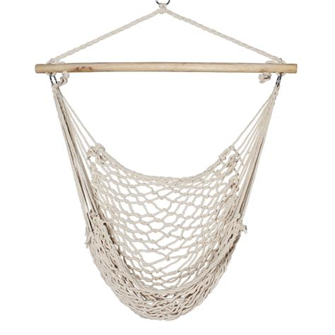 Hanging Hammock Chair New Porch Beige Cotton Swing Rope Hammock Patio Garden Air
