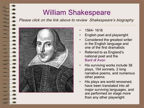 shakespeare biography list lights camera action