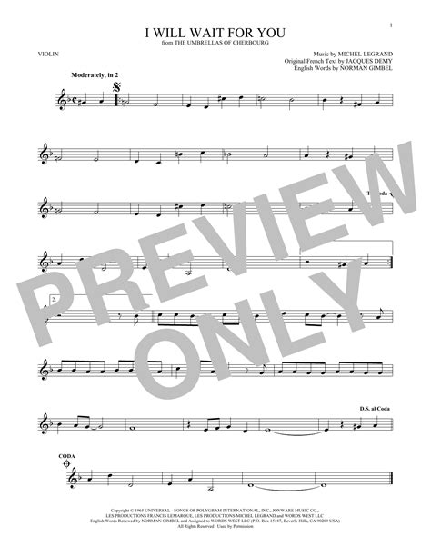umbrella strumming pattern michel legrand i will wait for you sheet music